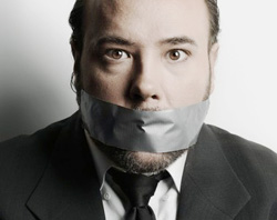 Man with mouth taped closed